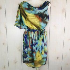 Jessica Simpson Yellow, Blue Watercolor Dress 6